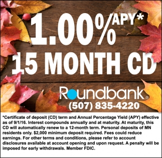 1.00 % APLY 15 MONTH CD