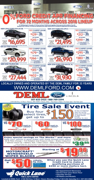0% Ford Credit Apr Financing for 72 months across 2016 Lineup