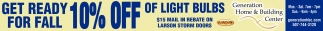 10% OFF OF LIGHT BULBS