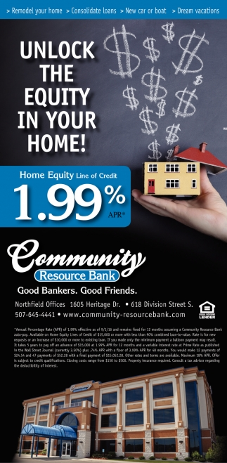 Home Equity Line of Credit 1.99% , Community Resource Bank, Northfield, MN