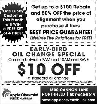 Oil Change Special $10 OFF, Apple Chevrolet Buick Northfield, Northfield, MN