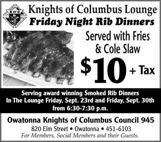 Friday Night Rib Dinners