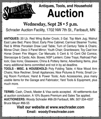 Antiques, Tools and Household