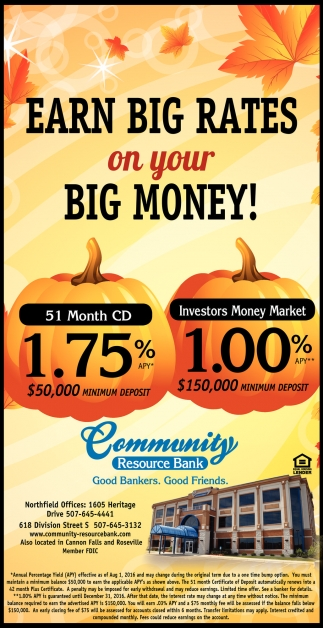 Earn Big Rates on your Big Money!
