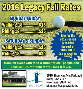 2016 Legacy Fall Rates