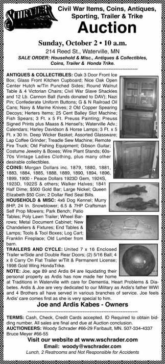 Civil War Items, Coins, Antiques, Sporting, Trailer and Trike