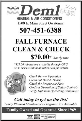 Fall Furnace Clean and Check $70.00