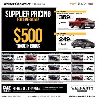 $500 Trade-In Bonus, Walser Chevrolet In Owatonna, Owatonna, MN