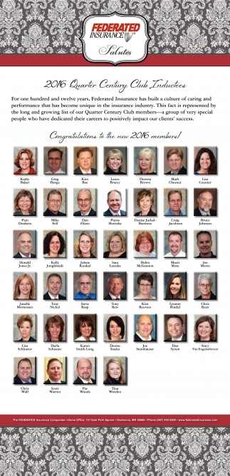 2016 Quarter Century Club Inductees