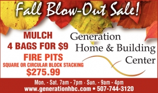 Fall Blow-Out Sale!