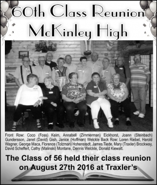 August 27th 2016, 60th Class Reunion McKinley High