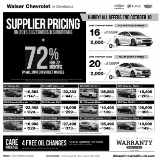 Supplier Pricing on 2016 Silverados and Suburbans, Walser Chevrolet