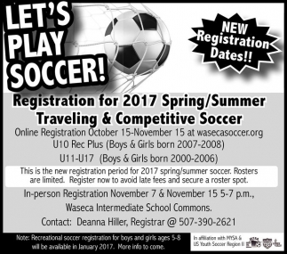 2017 Spring/Summer Traveling and Competitive Soccer