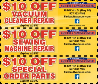 Ads For Faribault Vacuum And Sewing Center in Southern Minn