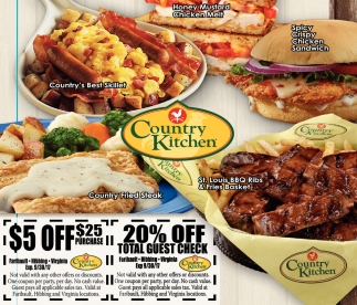 $5 off / 20% off, Country Kitchen, Faribault, MN