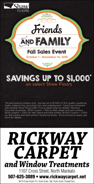 Friends and Family Fall Sales Event