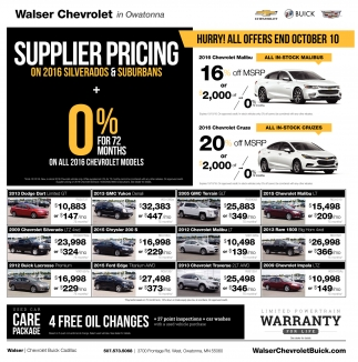 Supplier Pricing on 2016 Silverados and Suburbans, Walser Chevrolet In Owatonna, Owatonna, MN