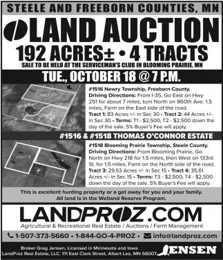 LAND AUCTION 192 ACRES