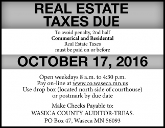 Real Estate Taxes Due