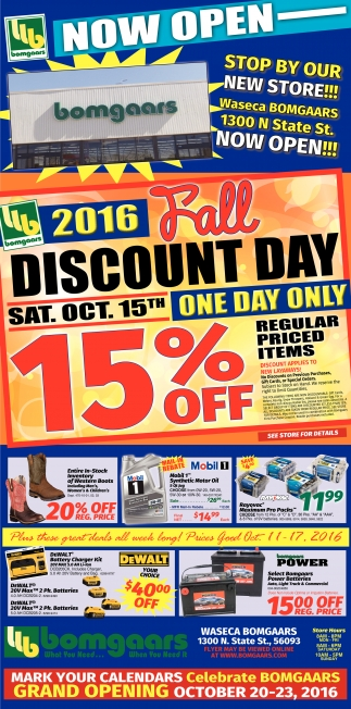 2016 Fall Discount Day ONE DAY ONLY, Bomgaars