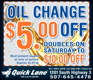 Oil Change $5.00 OFF