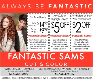 haircut coupons mn weekday specials fantastic sams cut and color northfield mn 3864