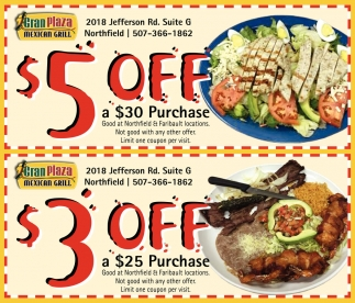 $5 off a 30 Purchase / $3 off a $25 Purchase