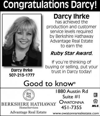 Congratulations Darcy