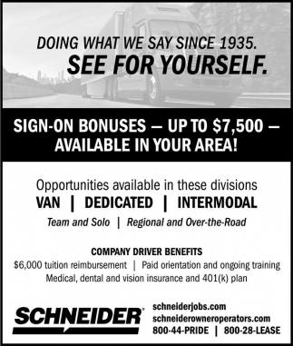 Ads For Schneider in Southern Minn