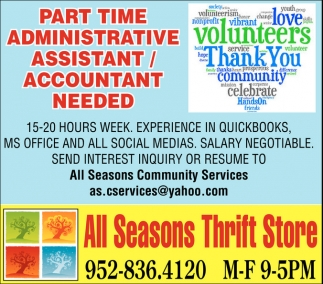 Ads For All Seasons Thrift Store in Southern Minn