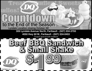 Beef BBQ Sandwich and Small Shake $1.99