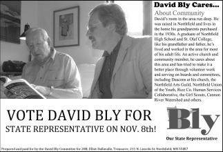 Vote David Bly for State Representative on nov. 8th!