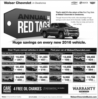 Annual Red Tag Sale, Walser Chevrolet In Owatonna, Owatonna, MN