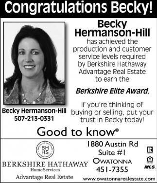 Congratulations Becky