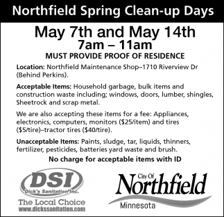 Northfield Spring Clean-up Days