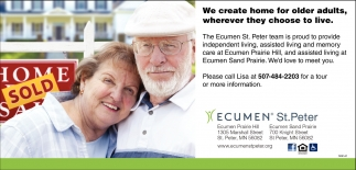 We create home for older adults, wherever they choose to live, Ecumen St. Peter - Prairie Hill, Saint Peter, MN