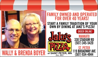 Wally and Brenda Boyer, Jake's Pizza , Saint Peter, MN