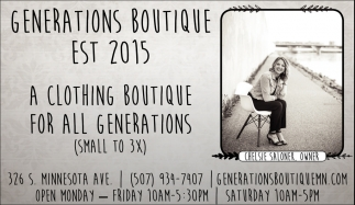 A clothing boutique for all generations, Generations Boutique, Saint Peter, MN