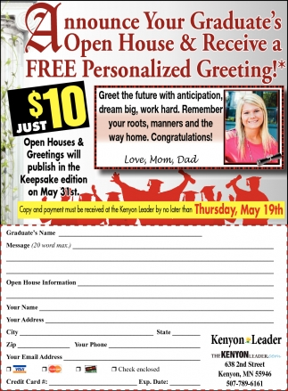 Announce Your Graduate's Open House & Recive a FREE Personalized Greeting!
