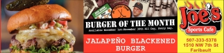Jalapeño Blackened Burger