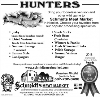 Ads For Schmidts Meat Market in Southern Minn