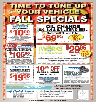 fall specials quick lane jordan jordan mn