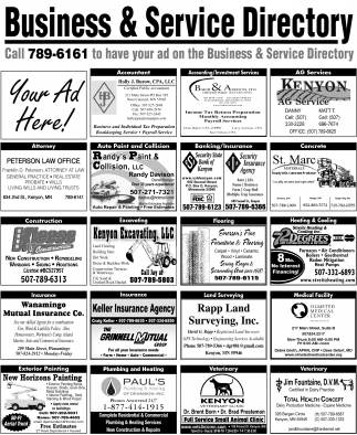 Call to have your ad on the Business & Service Directory