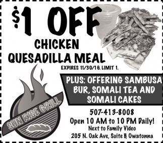 $1 off Chicken Quesadilla Meal