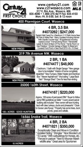 HOUSES, Century 21, Waseca, MN