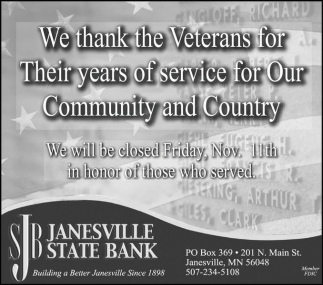 We thank the Veterans for Their years of service for Our Community and Country