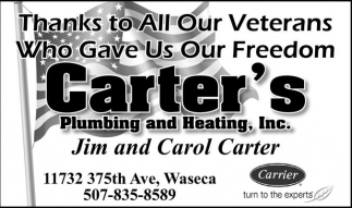 Thanks to All Our Veterans , Carter's Plumbing And Heating, Inc, Waseca, MN