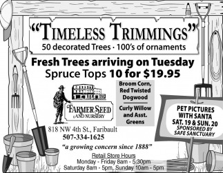 Fresh Trees arriving on Tuesday