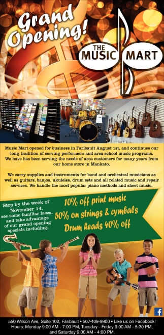 Ads For The Music Mart - Faribault in Southern Minn