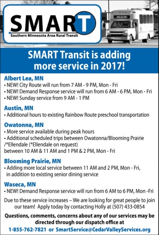 SMART Transit is adding more service in 2017!